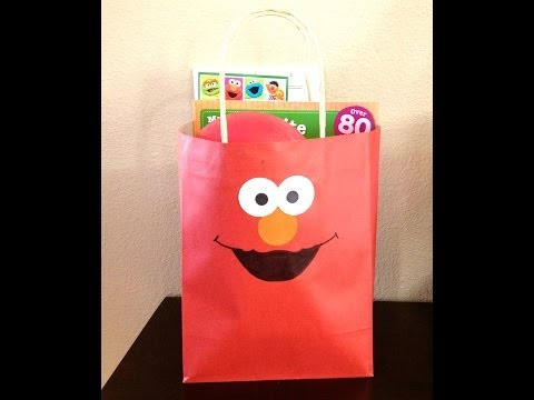 ELMO BIRTHDAY PARTY GIFT BAGS /  FAVOR BAGS - TUTORIAL