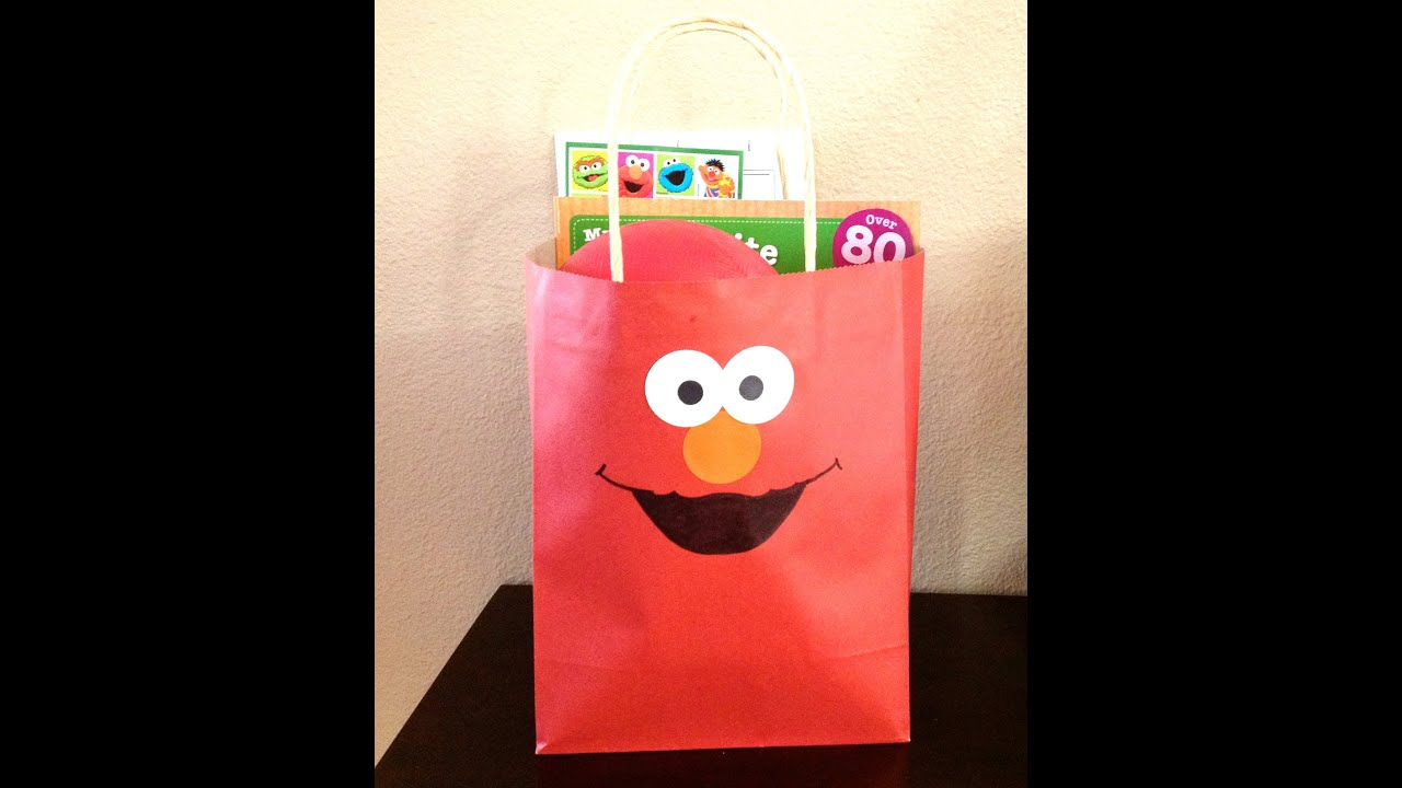 Elmo birthday party gift bags favor bags tutorial youtube negle Image collections