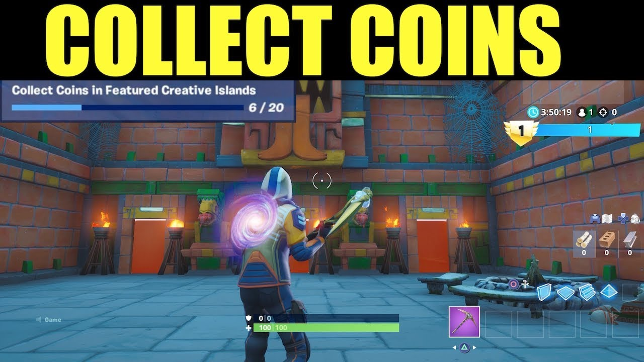 collect coins in featured creative islands fortnite season 8 overtime challenges collect coins - fortnite collect coins in featured creative islands season 8