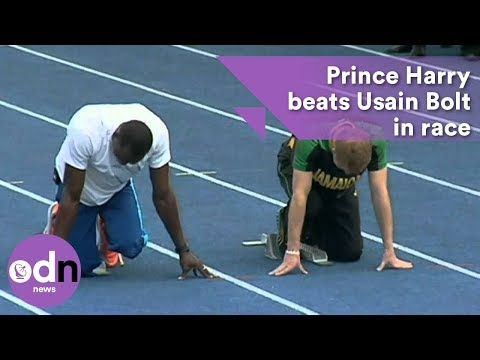 Prince Harry beats Usain Bolt in race