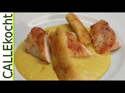 Hähnchenbrust auf Currysoße mit gebackener Banane - Omas Rezept