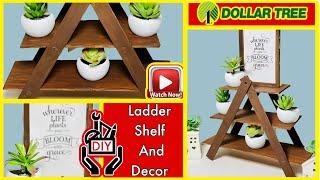 🌿 Diy Mini Shelf Ladder | Dollar Tree Diys | Farmhouse Decor | Collab W/ The Crafty Diy Guy