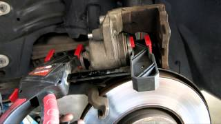 How to replace the front rotors and brake pads on SAAB 9-3 (9-5 93 95)