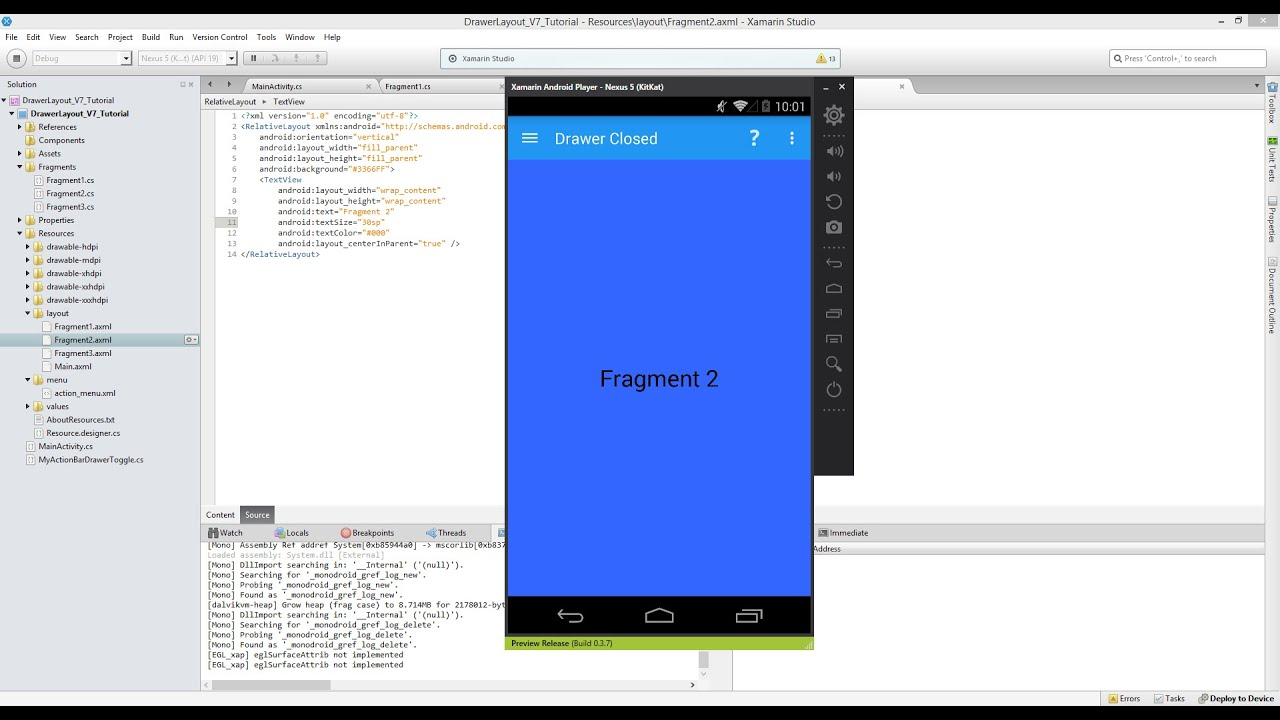 Xamarin Android Tutorial 56 Adding Multiple Fragments to a ...