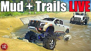 SpinTires MudRunner: MUD, TRAILS, & NEW TRUCKS LIVE!!