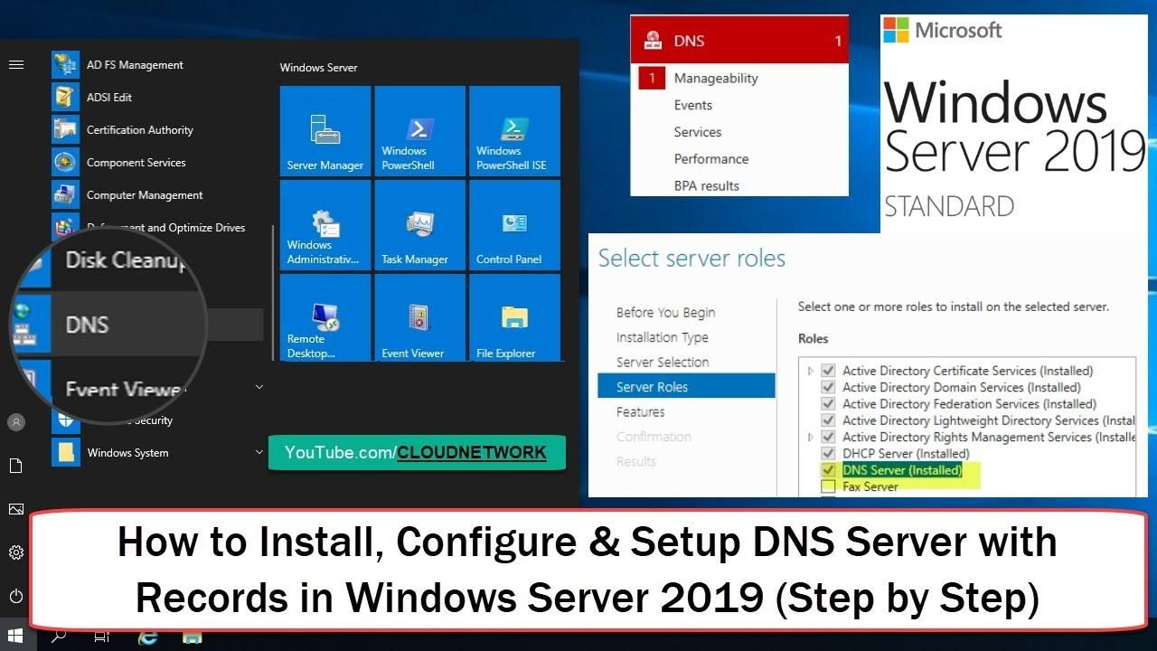 How to Install, Configure & SetUp DNS Server with Records in Windows Server  2019 (Step by Step)
