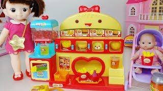 Baby doll Hamburger shop and Play Doh cooking toys pororo play 아기인형 햄버거 가게 플레이도우 요리놀이 뽀로로 장난감 - 토이몽