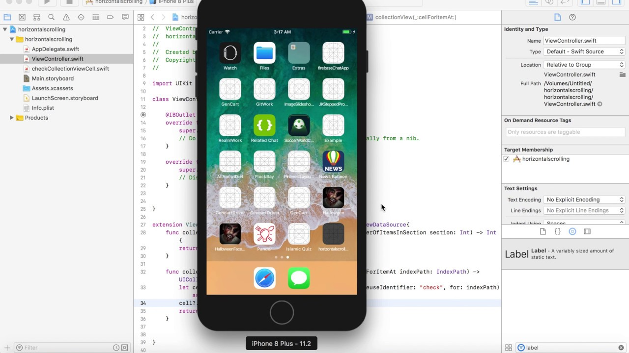 Create Collection view With Horizontal Scrolling in IOS Swift 4