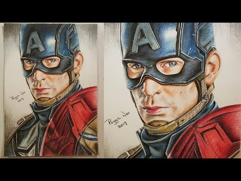 Drawing Captain America - Steve Rogers - Chris Evans Colored Pencil Speed Drawing   Marvel Fan Art