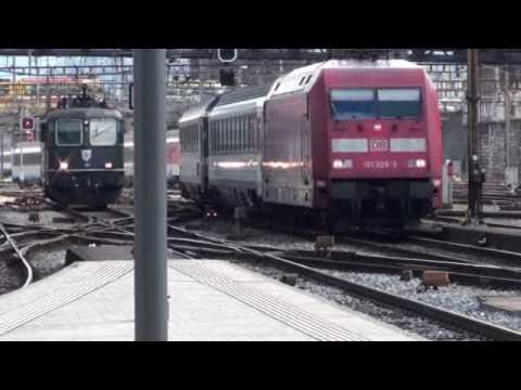 Trains at Basel Railway Station in Switzerland