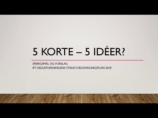 5 korte - 5 Idéer - Bevar Mindretallet - Bevar ALLE Landsbyskoler!