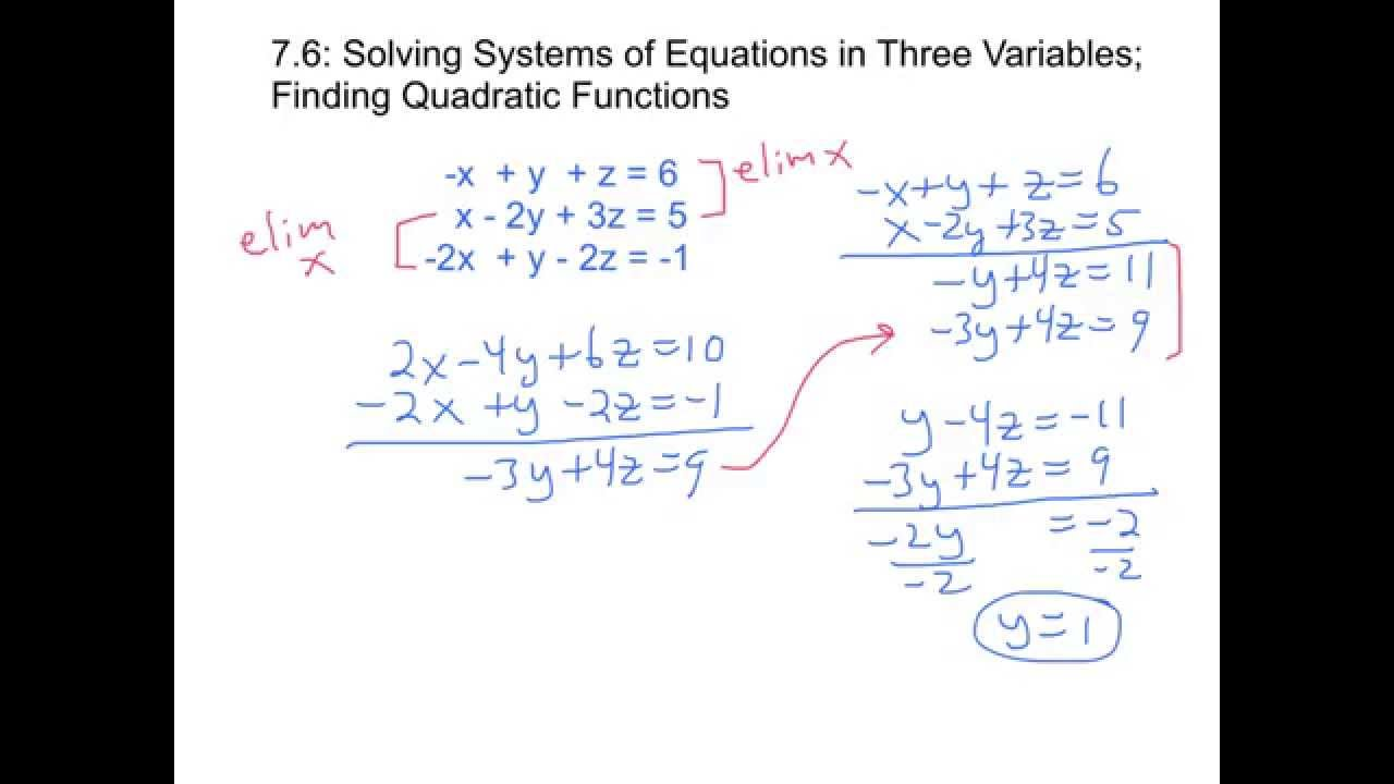 7.6: Solving Systems of Linear Equations in 3 Variables ...