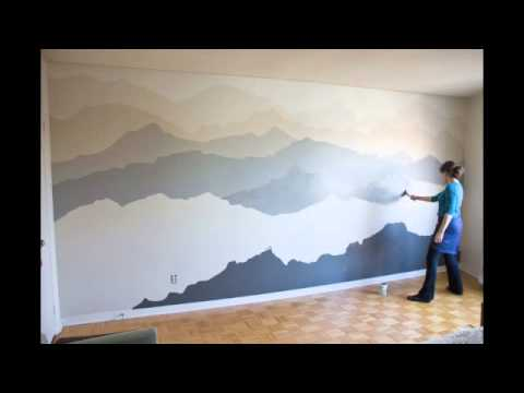 Mountain mural timelapse youtube for Diy mountain mural