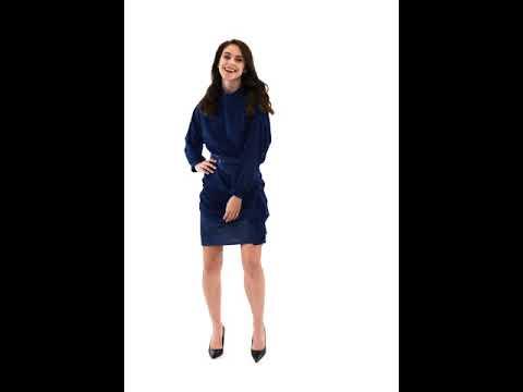 Video: Sukienka szyfonowa ze stójką i szarfą na spódnicy