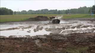 BUCKIN BRONCO GETS BUCKED BY ROLLING OVER IN THE MUD AT STEWARTS MUD BOG STANTON, MICHIGAN JUNE 13TH