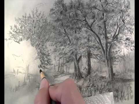 Karakalem Ağaç Ve Yol çizimi Youtube