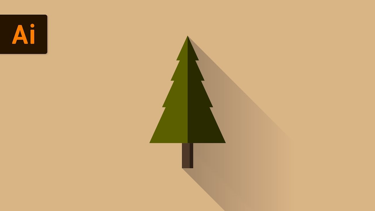 Christmas Tree Illustration.Flat Design Vector Tree Illustrator Tutorial