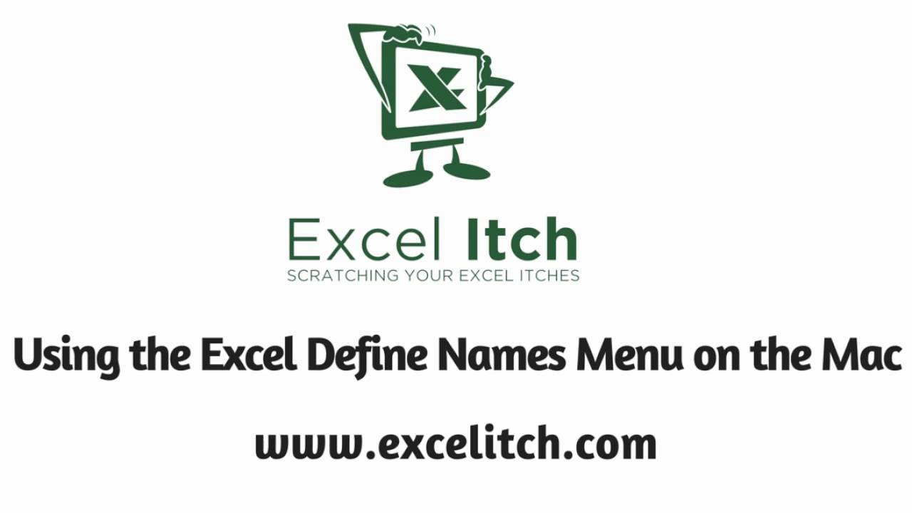 defined names in excel for mac