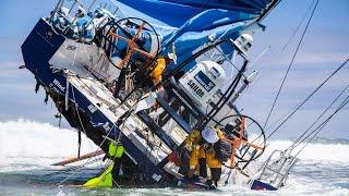 Team Vestas Wind on the reef at Cargos Carajos Shoals