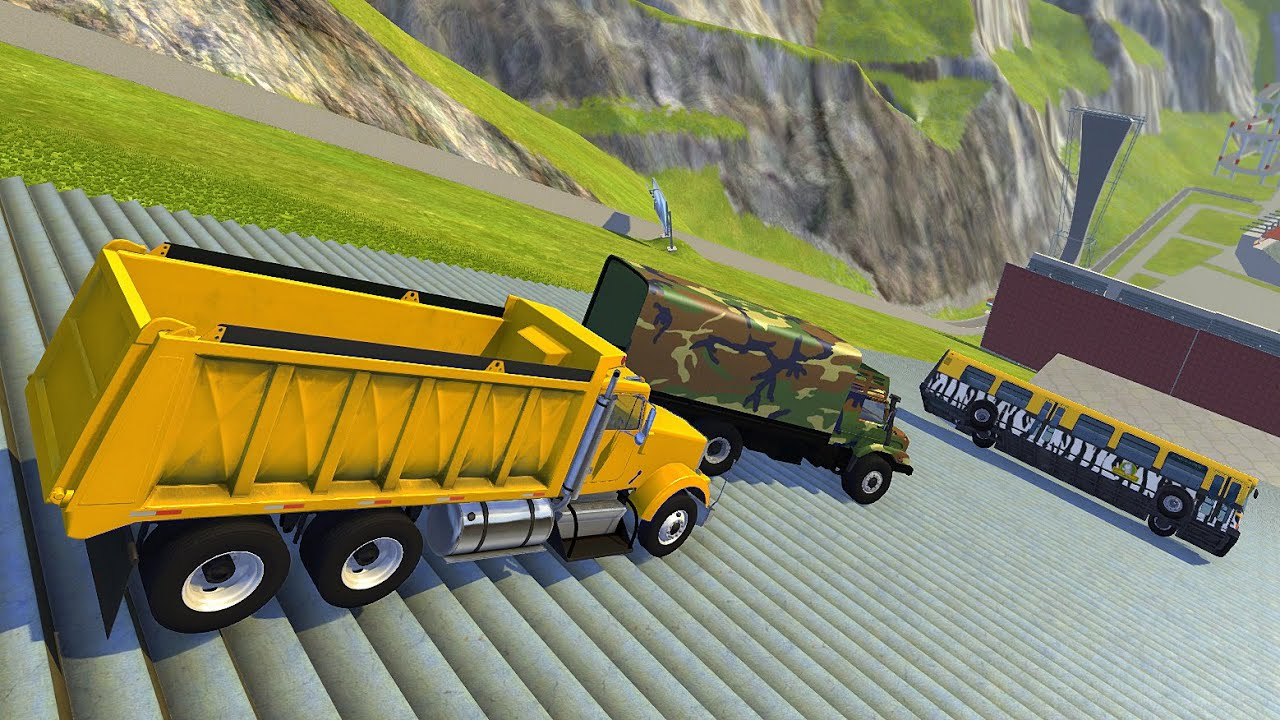 Heavy Vehicle Stairs Jumps Down (Crash Test) - BeamNG.drive Down Stairs Jumps