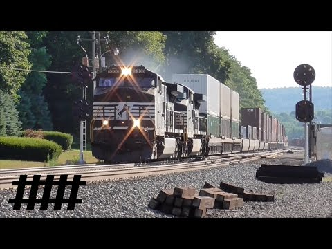 20 Norfolk Southern Trains at Lewistown Station With PRR Signals