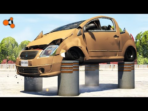 Thumbnail: Beamng drive - Сrushes Cars with Bollards (hydraulic bollards crashes)