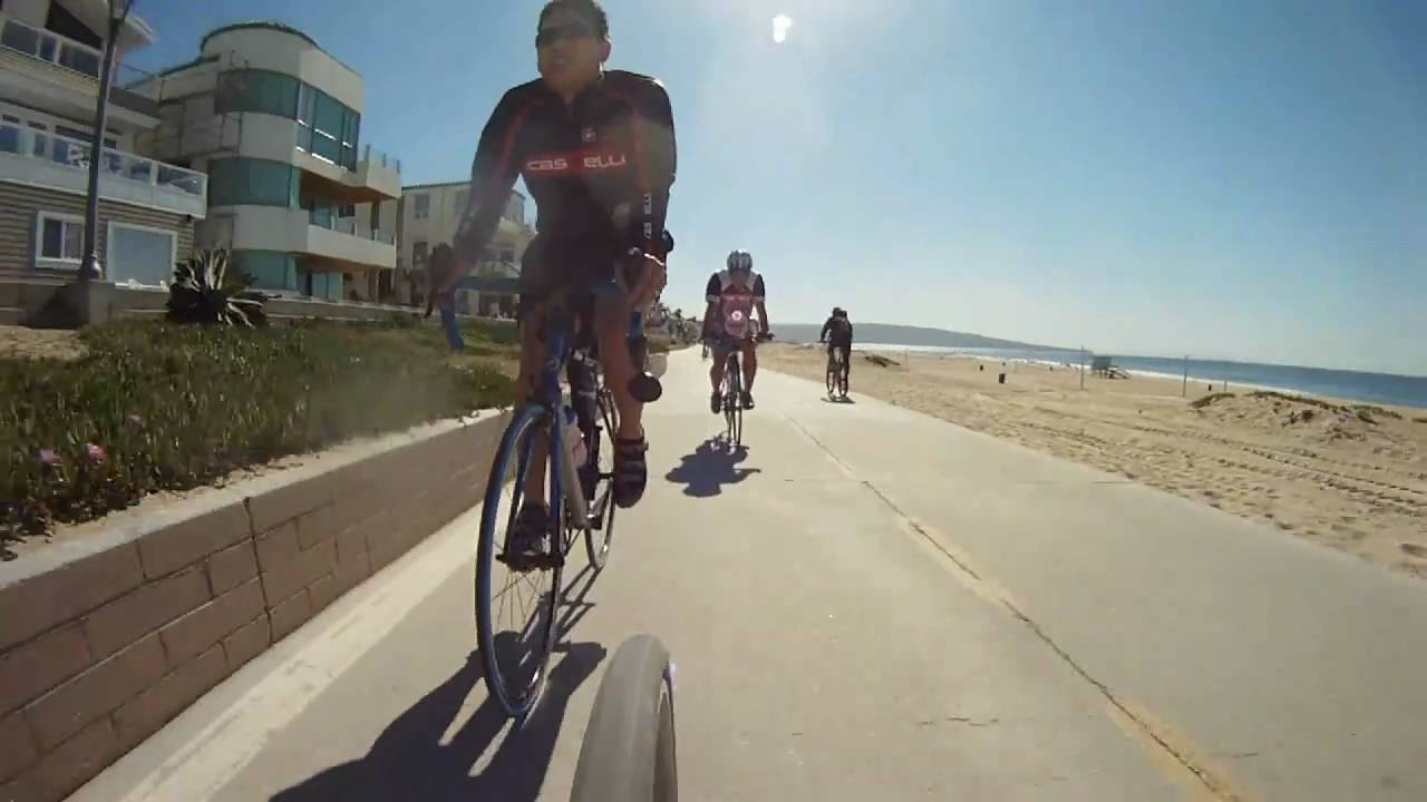 Cycling Manhattan Beach California The Strand Bike Path Gopro Hd You