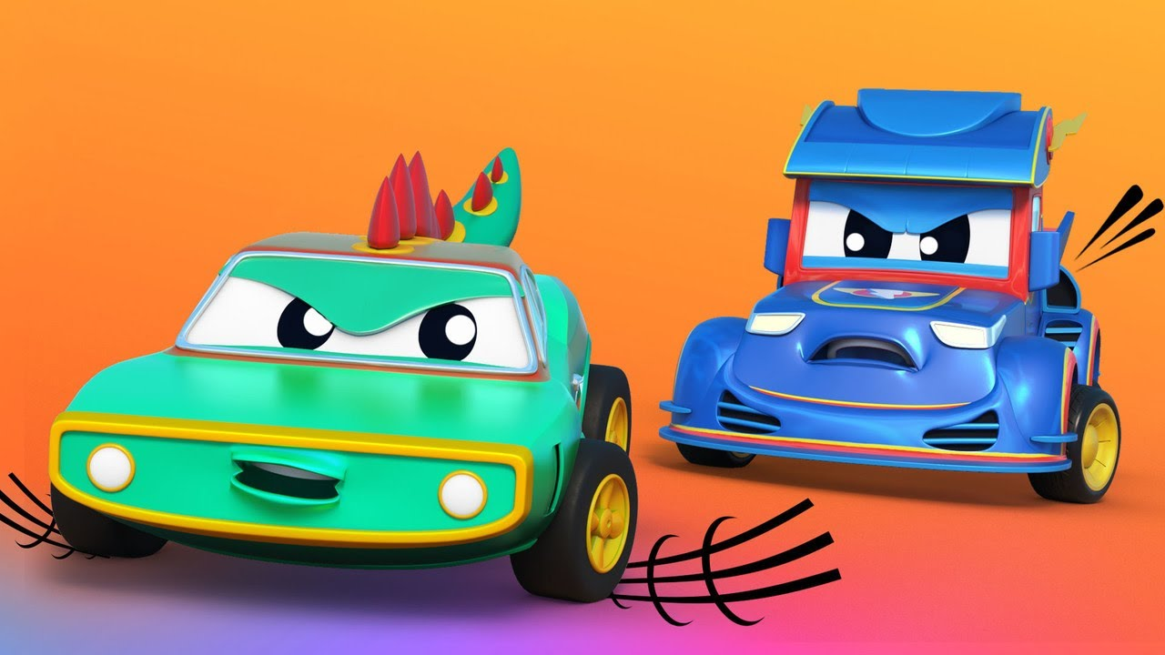 ГОНОЧНАЯ МАШИНА против хитрого КРОКОДИЛА - Автомобильный город - Детские мультфильмы