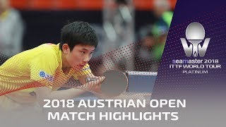 Xu Xin vs Tomokazu Harimoto I 2018 ITTF Austrian Open Highlights (1/4)