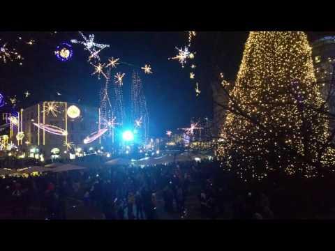 Amazing holidays style view at Prešern`s square Ljubljana Slovenija from my ultra HD phone