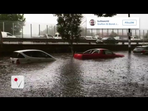 Sydney flash floods, tornadoes, and hail caught on camera