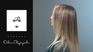 Окрашивание балаяж на средне-русые волосы.