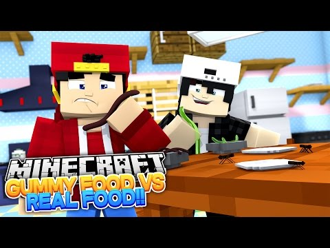 Minecraft Adventure - GUMMY FOOD vs REAL FOOD CHALLENGE!!! - Видео из Майнкрафт (Minecraft)