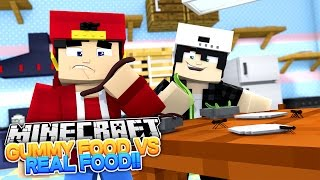Minecraft Adventure - GUMMY FOOD vs REAL FOOD CHALLENGE!!!