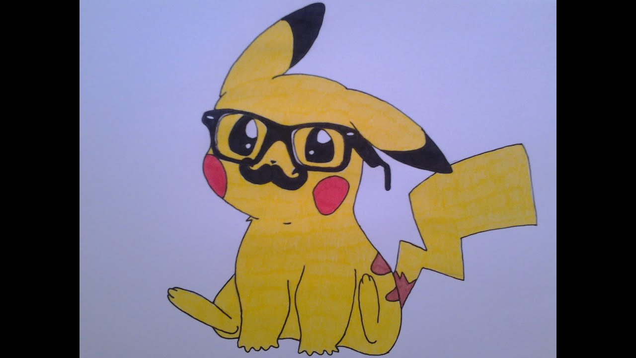 how to draw a cute pikachu with hipster glasses and mustache youtube