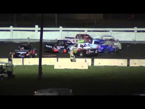 The BIG ONE-Truck Wreck Segment for Race Review ISF Speedway 5-5-14