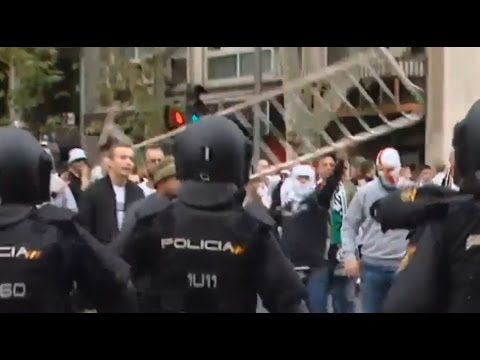 C1 Real Madrid - Legia Warsaw Cortege trouble with police and away sector