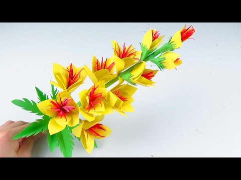 How to Make Beautiful stick Flower with Paper - DIY Paper Flowers - Handmade Craft
