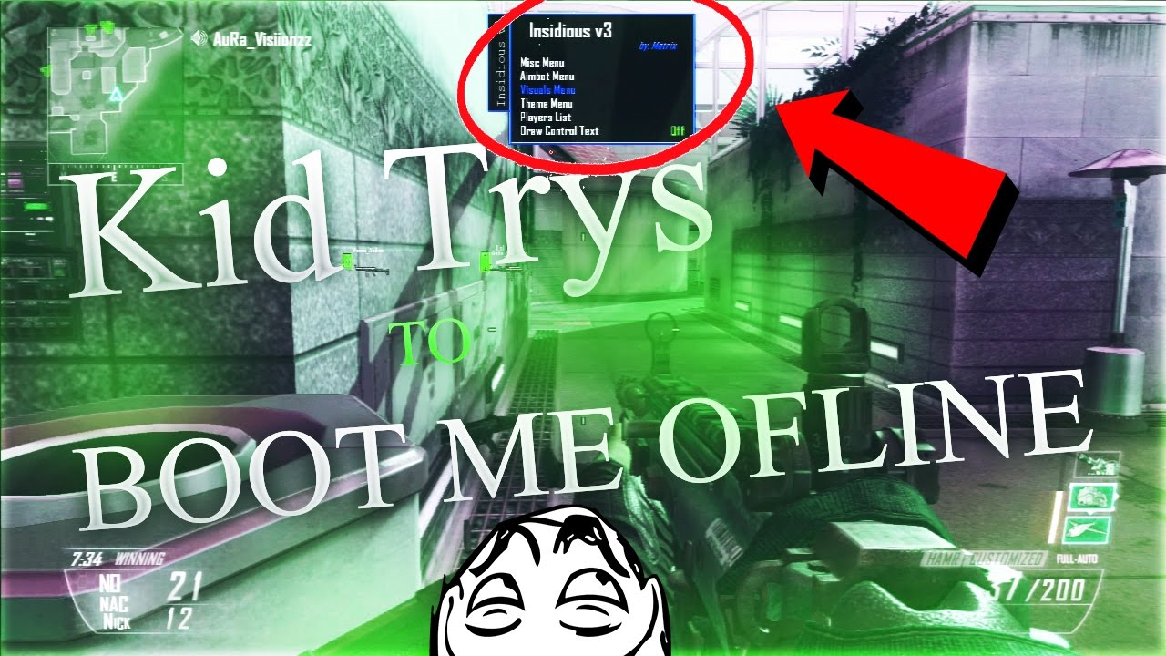 BO2 AIMBOT TROLLING! GUY TRYS TO BOOT ME OFFLINE