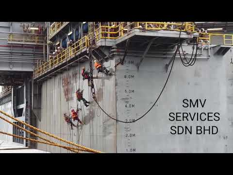 Hydro blasting with 30,000 psi using rope access