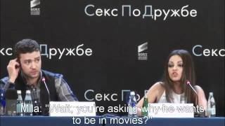 Mila Kunis Smacks Down A Reporter In Russian - with Sub Titles thumbnail