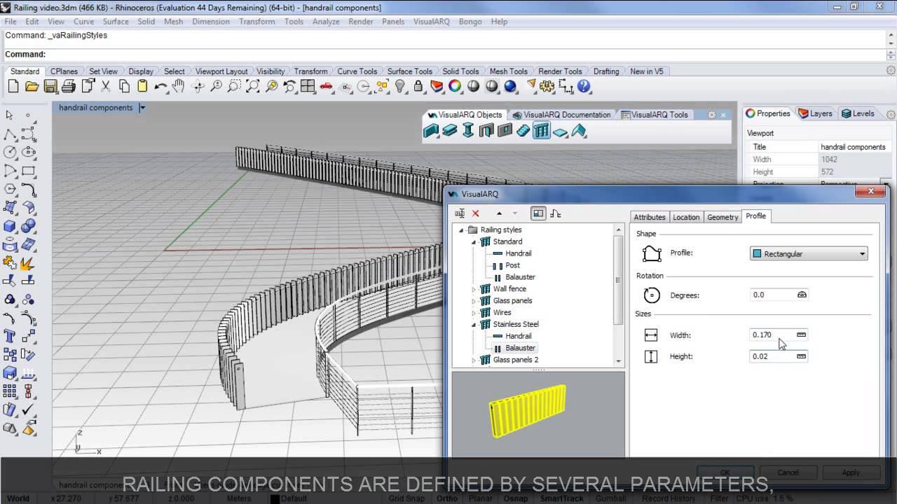 Create and edit Railings with Rhino and VisualARQ 1