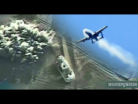 A-10 Warthog 30mm cannon vs Taliban getaway vehicle