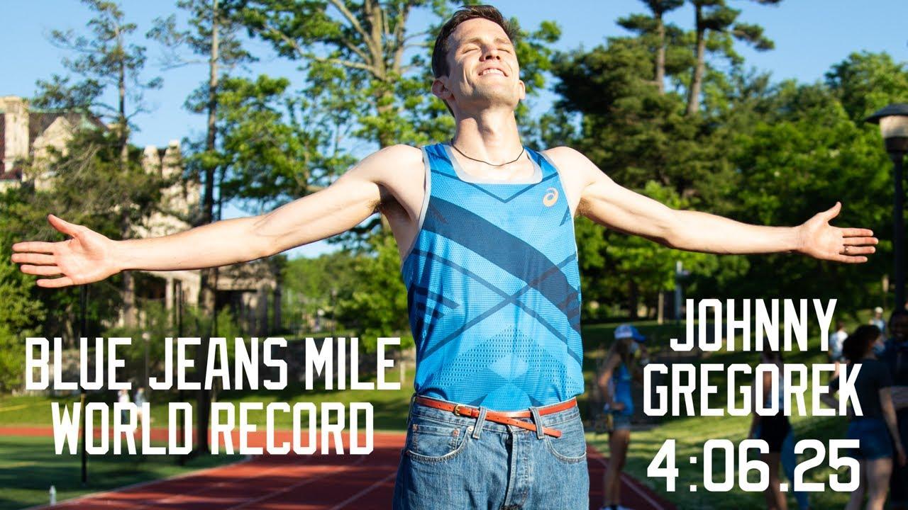 BLUE JEAN MILE WORLD RECORD: JOHNNY GREGOREK RUNS 4:06.25 IN ...