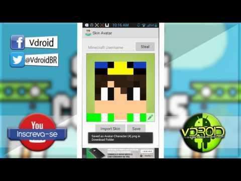 Como fazer uma Foto de Perfil para o Youtube com sua Skin de Minecraft — Pelo Android!   Dicas p/ YT