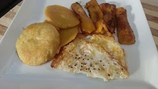 Fried Boiled Dumpling Served With Fried Egg & Plantain Caribbean Food Jamaican Breakfast!