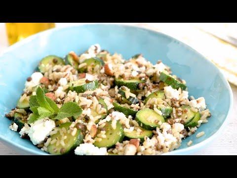 recette-facile-de-salade-de-céréales-aux-courgettes-rôties-et-feta
