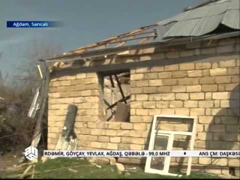 Ağdamın Sarıcalı kəndində dağılmış evlər