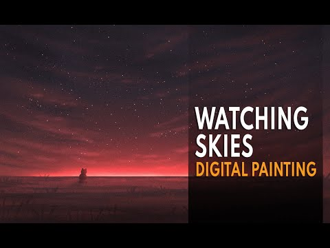 Watching Skies, Landscape Painting, Time Lapse Digital Painting