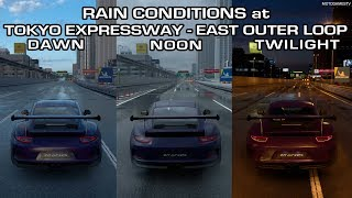 Gran Turismo Sport - Rain Conditions at Tokyo Expressway - East Outer Loop Comparison